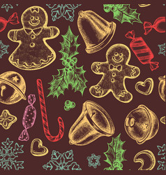 seamless pattern with colored bells jingles vector image