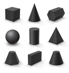 Set basic 3d shapes black geometric solids on vector