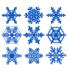 set blue snowflake crystal ice vector image