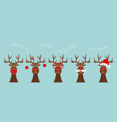 set funny christmas reindeer happy new year 2021 vector image