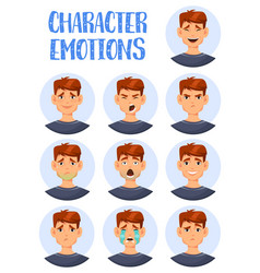 set isolated icons man facial expressions vector image