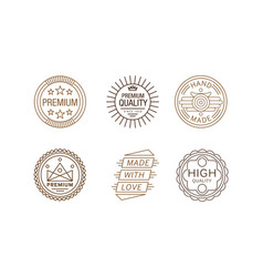 Set of creative linear label for handmade vector