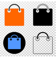 Shopping bag eps icon with contour version vector