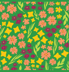spring flowers seamless repeat pattern vector image