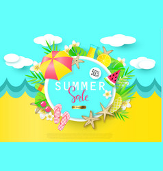Summer sale banner with sweet travel vacation vector