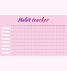 Tracker habits for one month 8 habits pink vector