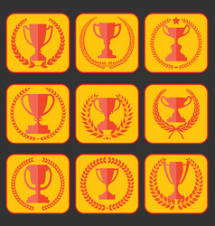 trophy and awards retro vintage collection 7 vector image