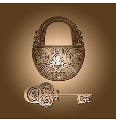 Vintage Lock with a Key vector image
