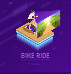 Vr stationary bike isometric composition vector