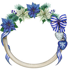 watercolor elegant christmas wreath with blue vector image