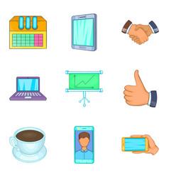 Web company icons set cartoon style vector