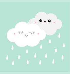 white gray cloud rain drop icon set smiling vector image