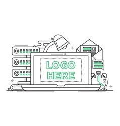 Work place - line design with vector