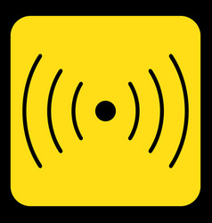 Yellow black sign - sound vibration symbol icon vector
