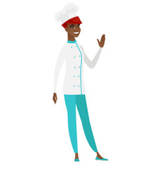 Young african-american chef cook waving her hand vector