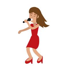 young woman happy in karaoke cartoon vector image