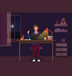 a girl sitting at the laptop and working at night vector image vector image