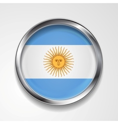 Abstract button with metallic frame Argentinean vector image