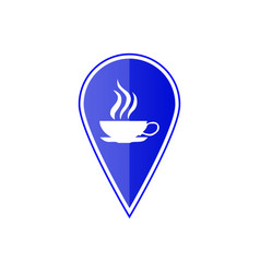 blue map pointer with cup icon vector image