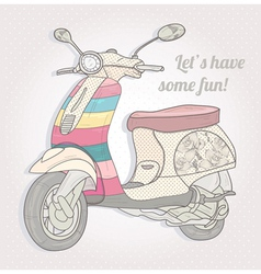 colorful vintage scooter postcard greeting card vector image vector image