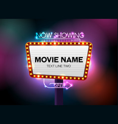 theater sign and neon light vector image vector image