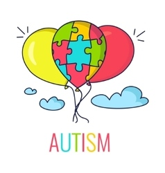 Autism concept with balloons vector image vector image