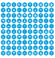 100 winter holidays icons set blue vector image vector image