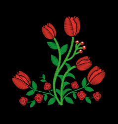elegant embroidery decorative roses flowers design vector image