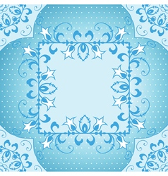 Floral frame in blue vector image vector image