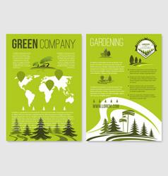 Green company posters templates set vector