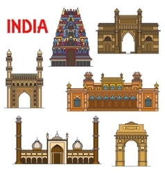 Indian travel landmarks thin line icon vector image
