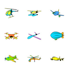 jet icons set cartoon style vector image