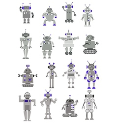 Large black and white set of toy robots or aliens vector image