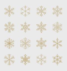 minimal golden snowflakes set vector image vector image