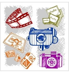 Retro photo camera set in vector image