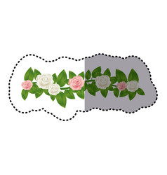 sticker colorful crown of leaves with roses floral vector image