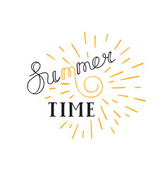 summer time lettering logo hand drawn typographic vector image vector image