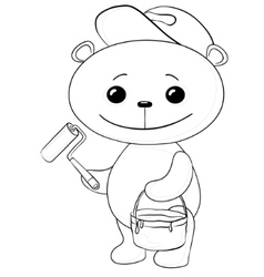 teddy bear house painter vector image vector image
