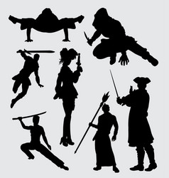 using weapon people activity silhouette vector image vector image
