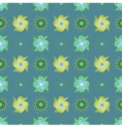 Abstract green flowers pattern vector image