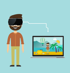 an image of a businessman virtual reality vacation vector image vector image