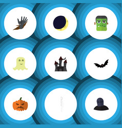 flat icon celebrate set of zombie pumpkin vector image
