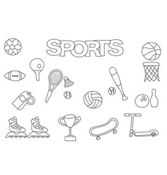 hand drawn sports set coloring book template vector image