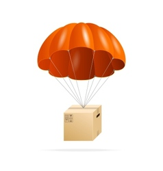 Red parachute with cardboard box on a white vector image vector image