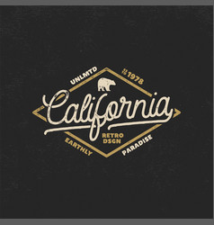summer california label with bear and typography vector image vector image