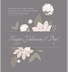 Valentines day card with pink flowers vector