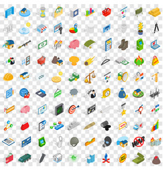 100 feedback icons set isometric 3d style vector
