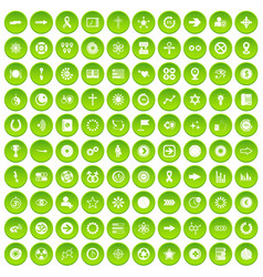100 graphic elements icons set green circle vector