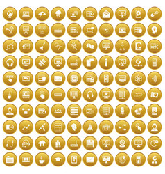 100 on-line seminar icons set gold vector