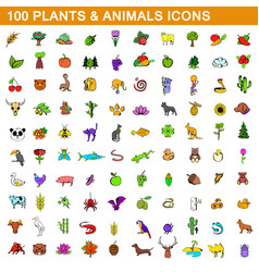 100 plants and animals icons set cartoon style vector image